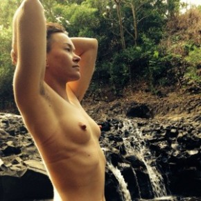 This photo sums up my day. #naturallynaked #genderqueernipples #hippie #haiku #waterfall #happyplace #instajiz